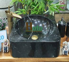 Lavabo đá tự nhiên đen bóng HCD - BST25